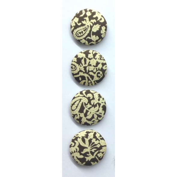 StickyTiger | 30mm Brown & Cream Fabric Covered Buttons