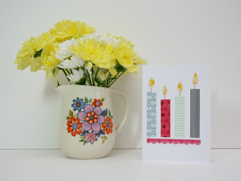 Four candle handmade card
