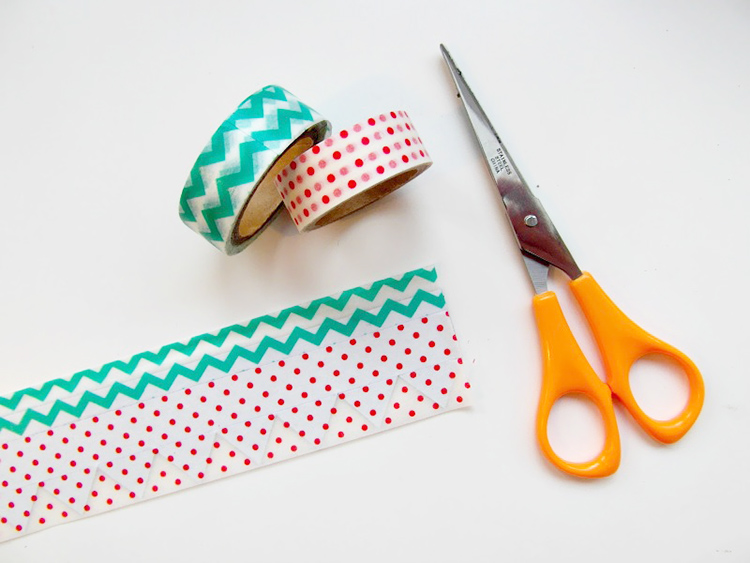 Adding washi tape to customise magnetic shapes