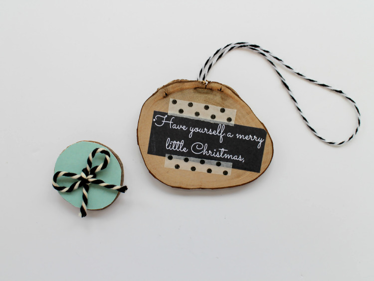 Wooden disc decorations with bakers twine bow