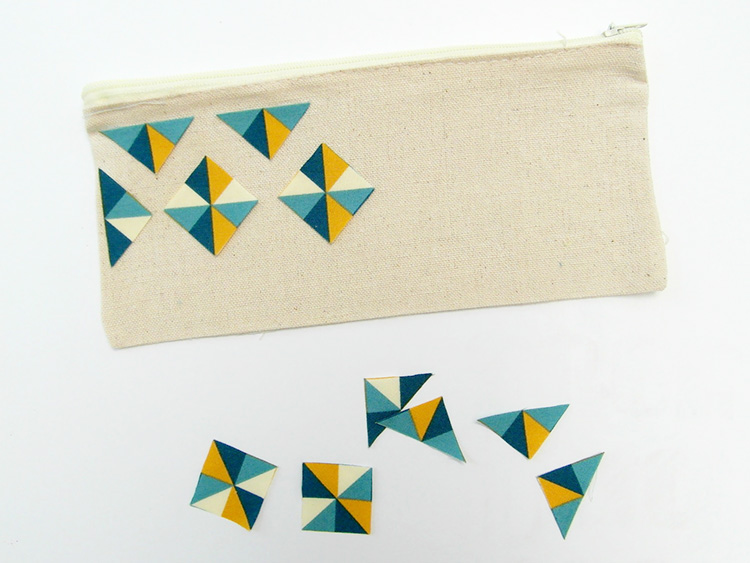 Geometric fabric pencil case