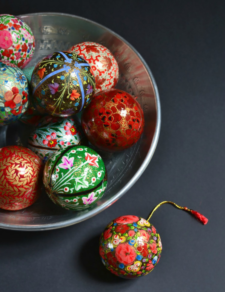 Hand painted baubles from Decorators Notebook