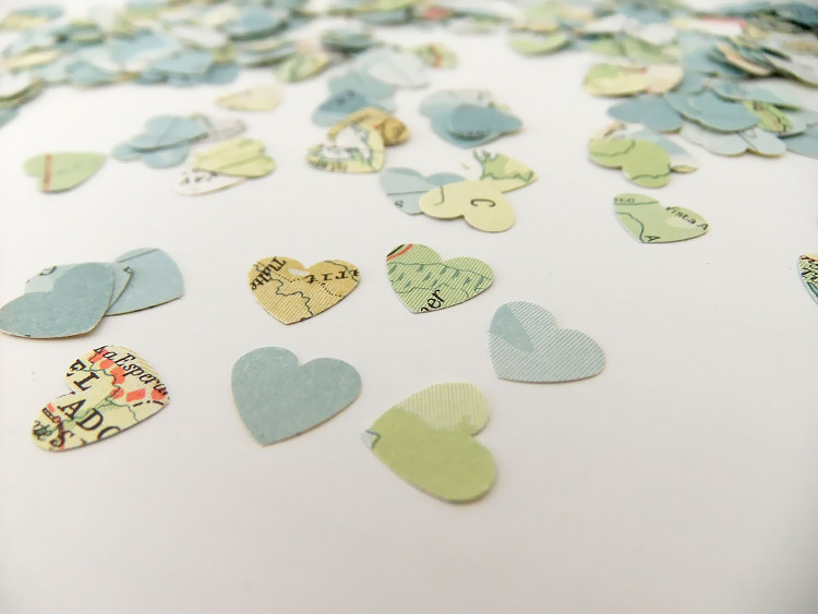 Confetti made from old maps