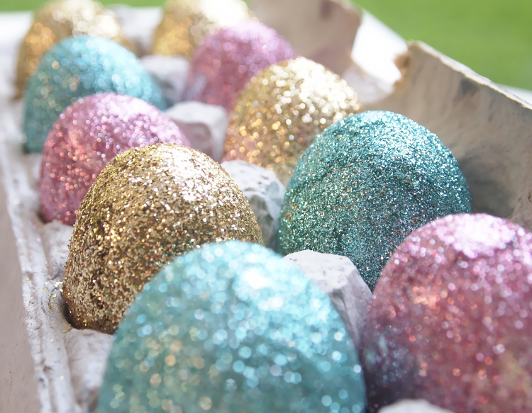 Colourful glitter easter eggs from Miss Kris