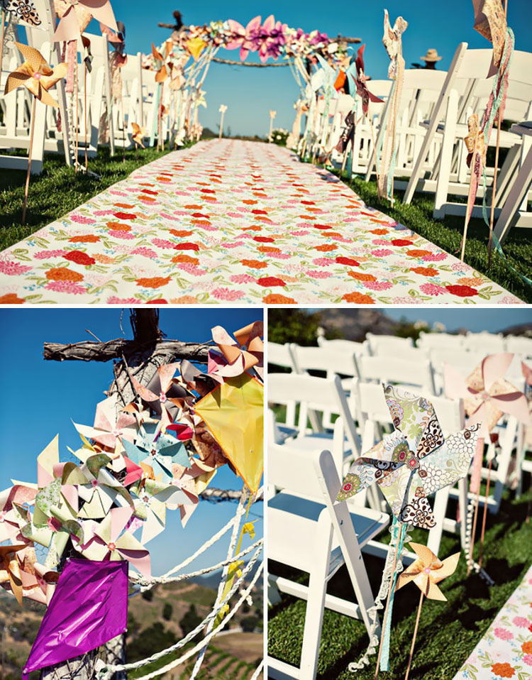 Pinwheel wedding aisle