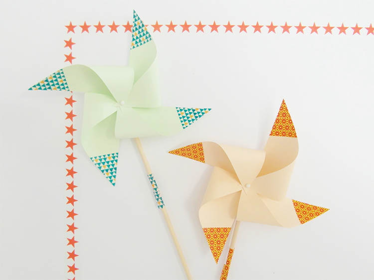 Pinwheels with washi tape tips