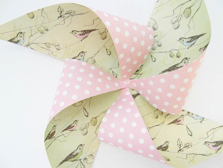Pink and green paper pinwheel