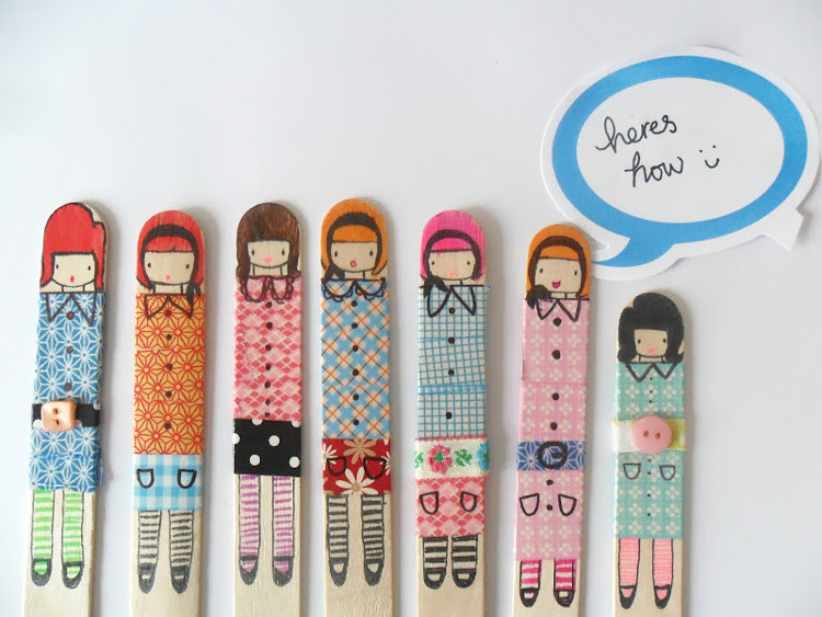 Decorated lolly sticks make great quirky bookmarks