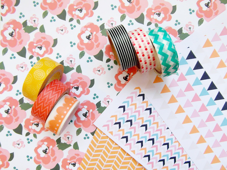 Washi tape style printed paper, masking sheets