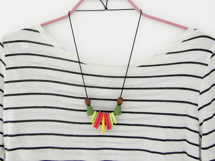 Zesty handmade button necklace