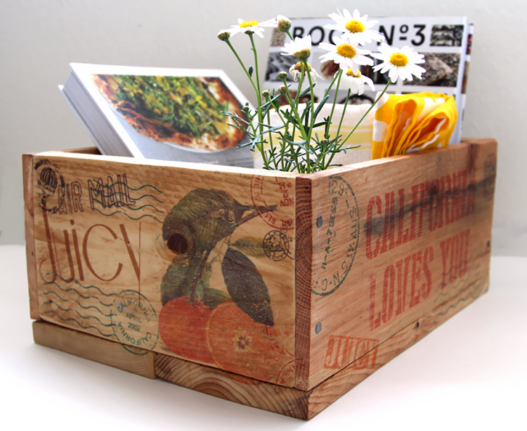 Vintage fruit crate with wax paper transfers