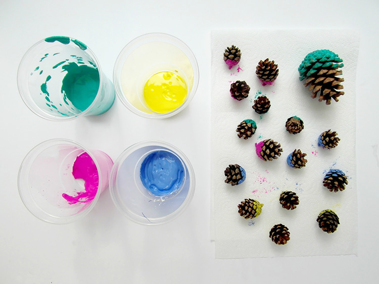 Pinecones dipped in acrylic paint