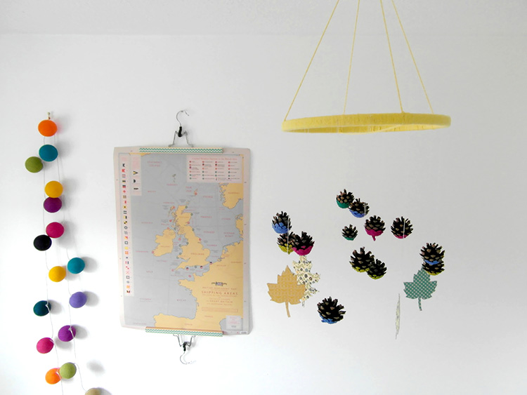 Hanging pinecone garland