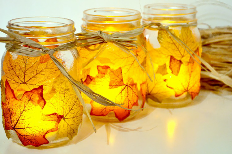 Autumn leaf lanterns made with Mod Podge