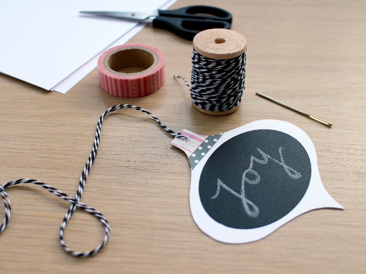 Thread your bauble tag with bakers twine