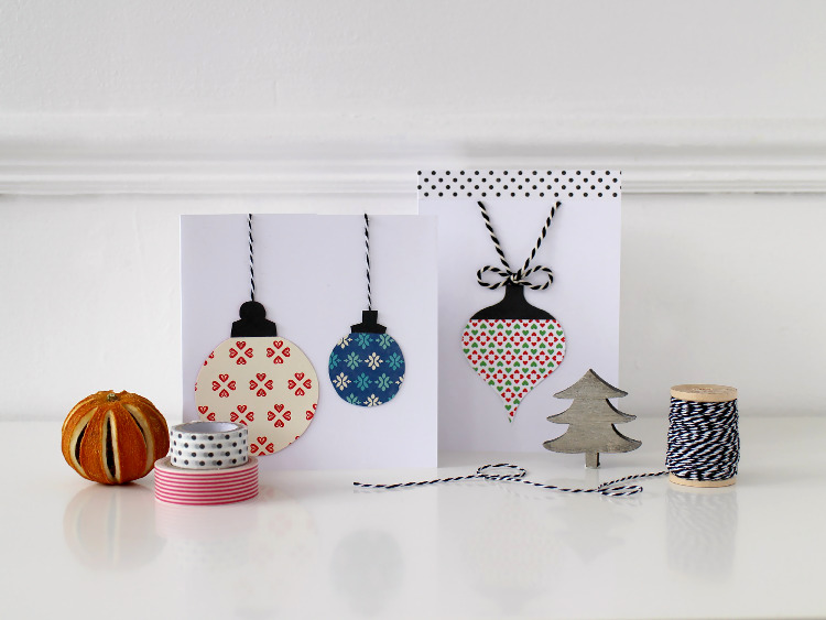 Easy bauble Christmas cards