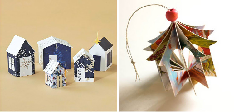 BHG card houses and recycled card ornaments at Michelle Made Me