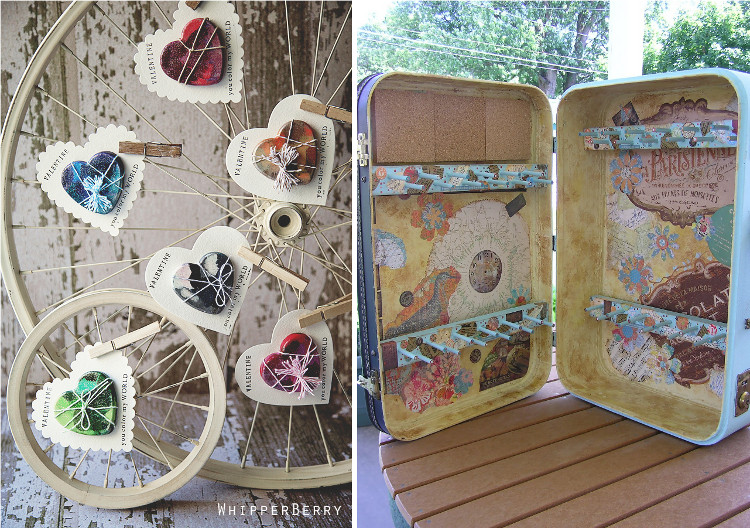 Bicycle wheel display and an upcycled suitcase