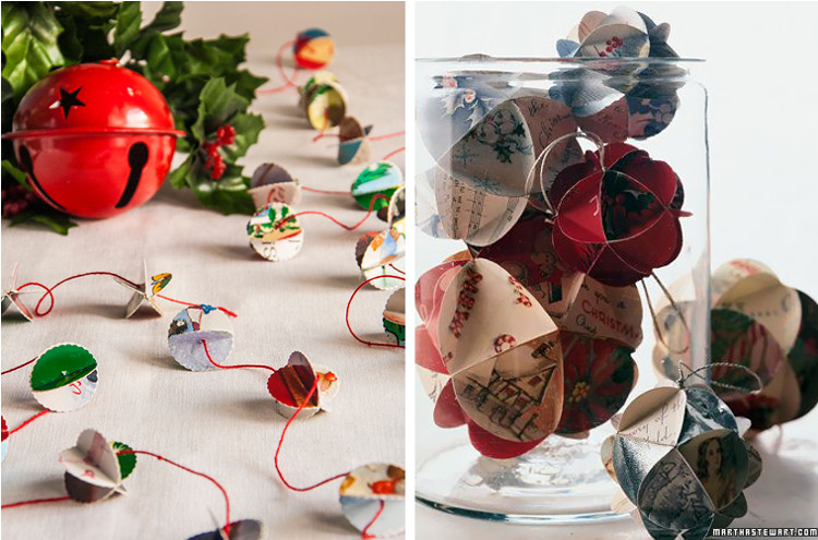 Recycled Christmas card garland at Bobbi Lewin and Martha Stewart ornaments