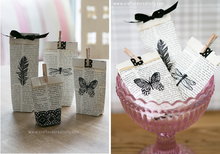 Old book pages turned into little gift bags