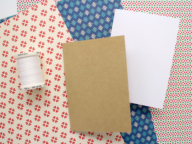 Festive scrapbook paper, card blanks and white thread