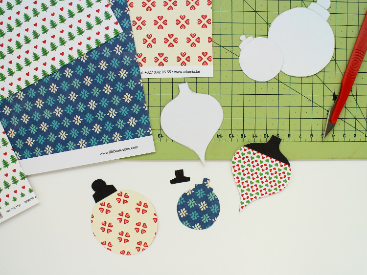 Cardboard templates and scrapbook paper baubles