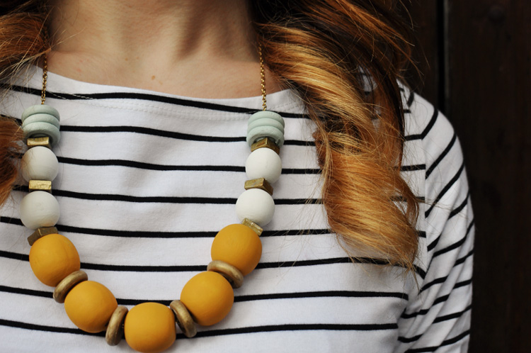 Chunky wooden bead and washer necklace