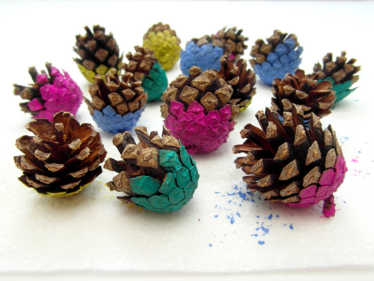 Brightly painted pinecones