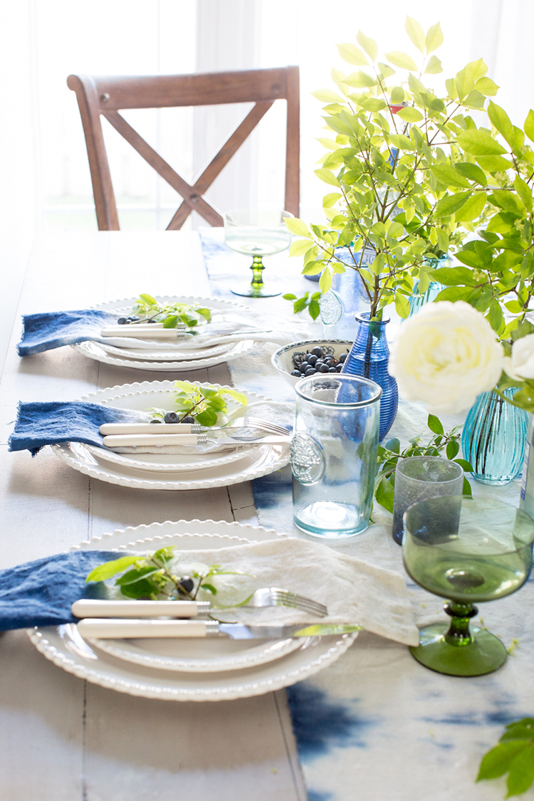 Ombre napkins and shibori table runner from Craftberry Bush