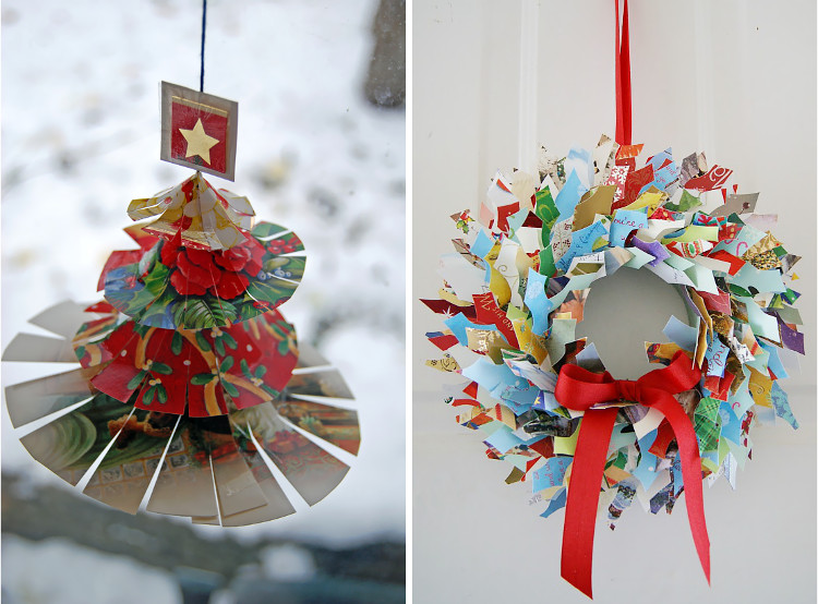 Recycled Christmas card wreath at Crafty Sy and Thinly Spread ornament