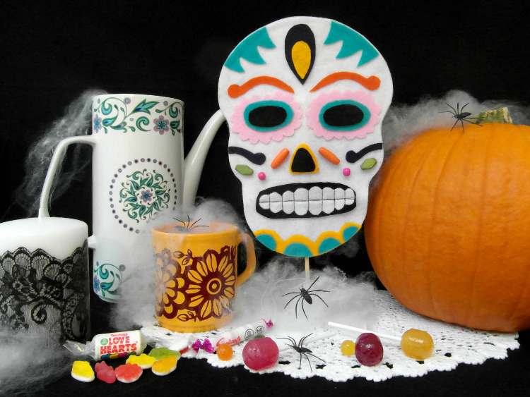Day of the Dead mask used as a decoration