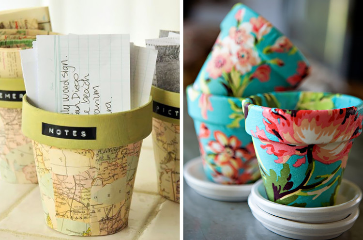 Decorate plant pots with fabric or paper and mod podge