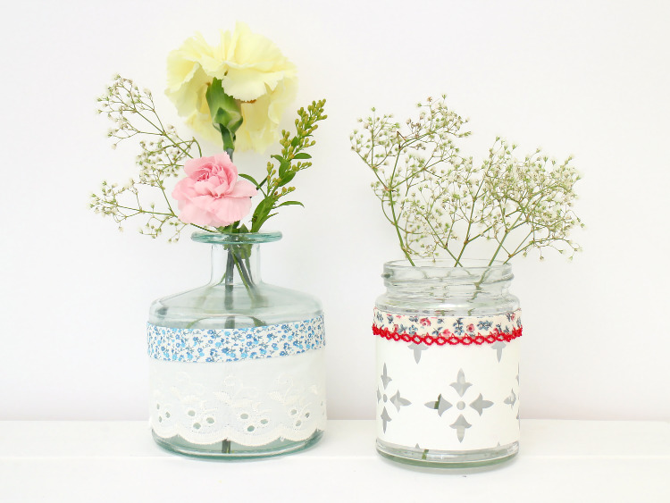 Fabric and paper covered jars