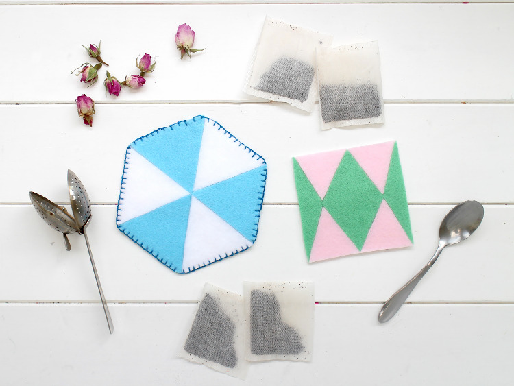 Felt coasters are a great Father's Day gift for tea lovers