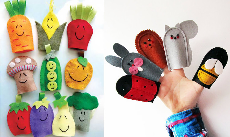 Felt vegetable finger puppets and animal finger puppets