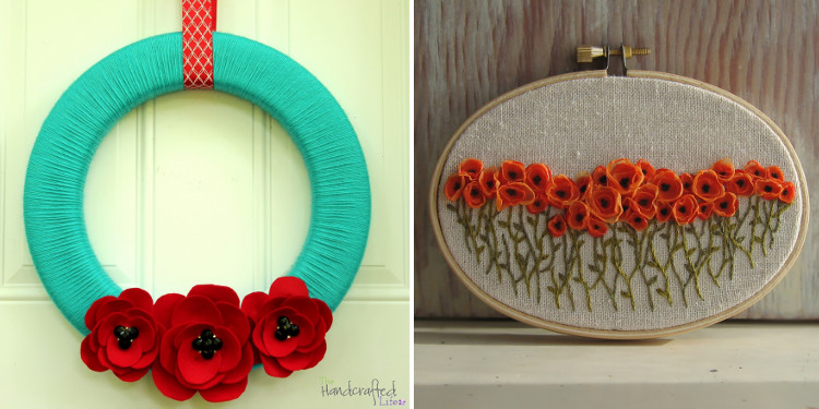 DIY poppy wreath and embroidery hoop