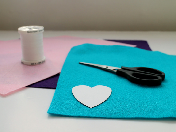 Cutting out felt hearts using a template