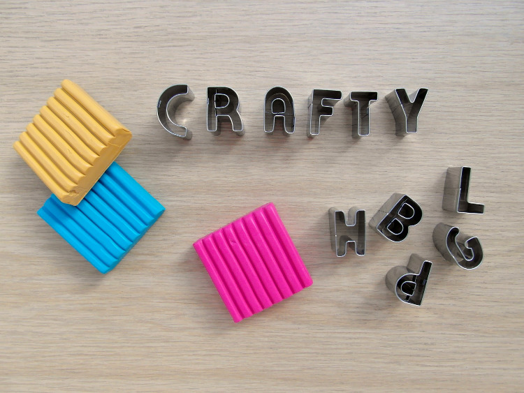 Alphabet cookie cutters and coloured FIMO