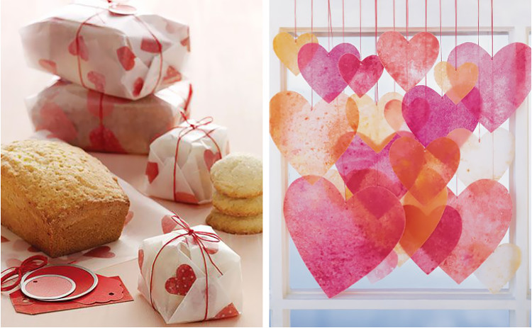 Heart gift wrap and garlands made from wax paper