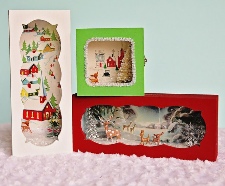Festive box scenes using old Christmas cards at My So Called Crafty Life