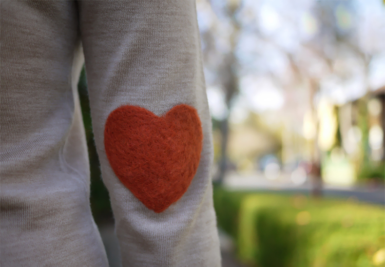 Heart shaped needle-felted elbow patch