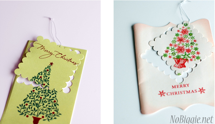 Christmas cards turned into gift tags at No Biggie