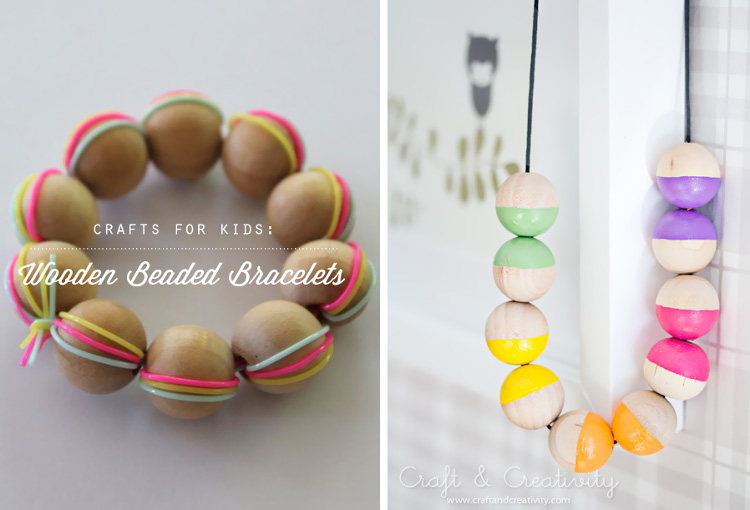 Painted wooden beads and handmade wooden bracelet