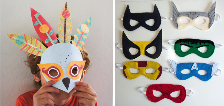 Paper and felt dressing up masks