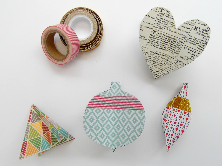 Cut out paper shapes and washi tape
