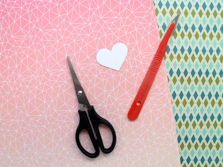 Patterned scrapbook paper for Valentine's cardmaking