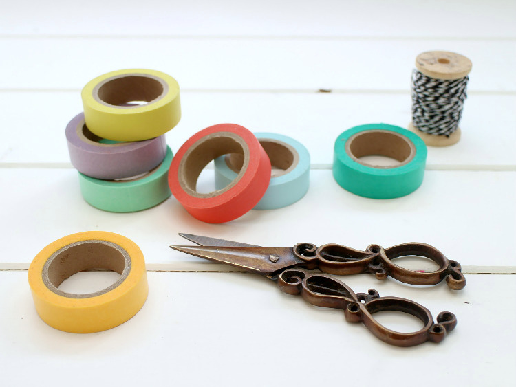Line your washi tapes up in colour order