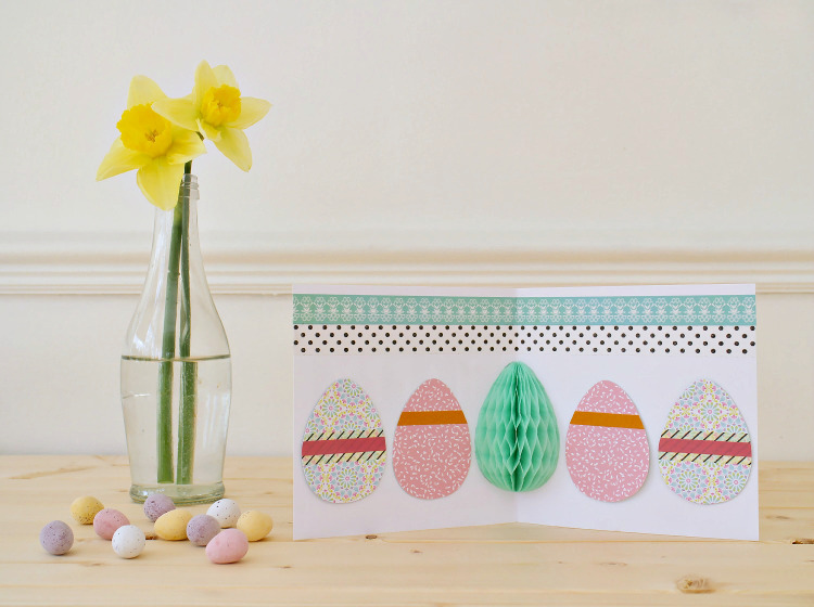 Pop up Easter card with honeycomb paper