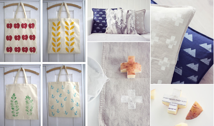 Stamping fabrics with potato prints