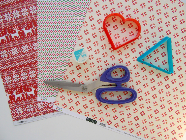 Christmas scrapbook papers and cookie cutters